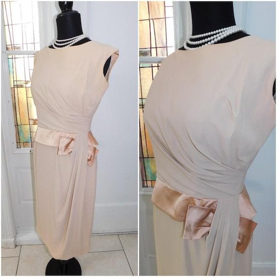 1950s Crepe Dress Vintage Bombshell Beige Crepe Ra