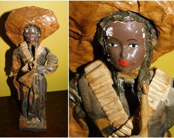 Vintage Mexican Folk Art Paper Mache Figurine Female Bandito Figurine 1950s Souvenir Made in Mexico