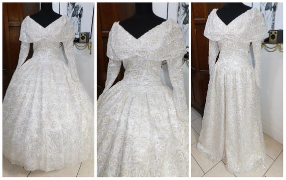 Vintage Full Sweep Wedding Gown, Tulle Taffeta Sat