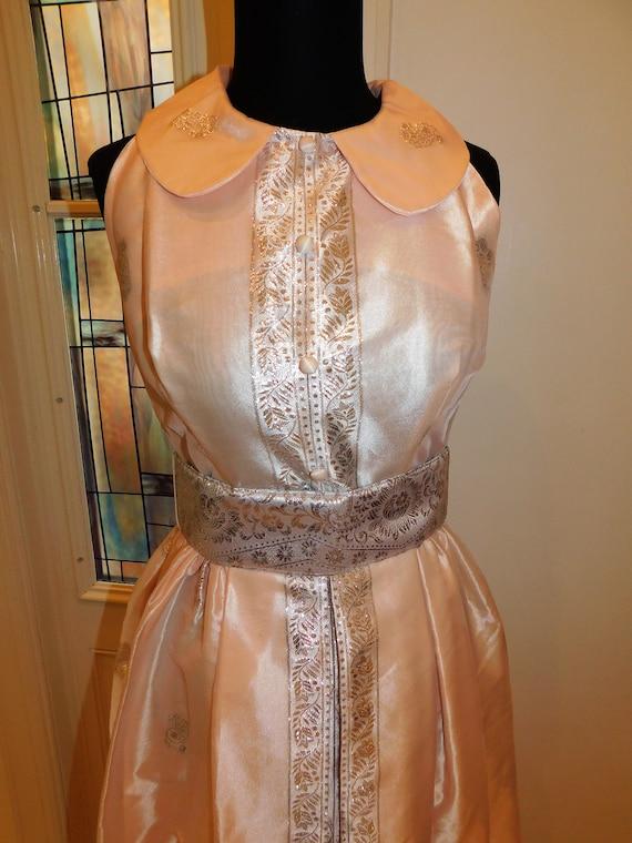 Vtg 60s Pastel Silver Peach Maxi Gown Peter Pan C… - image 5