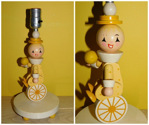 Vintage 60s Nursery Lamp Irmi Nursery Unicycle Clown Lamp