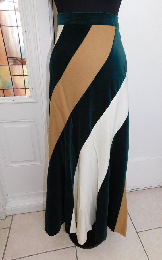 Vintage 70s Diagonal Wool Blend Maxi Skirt Velvet… - image 2