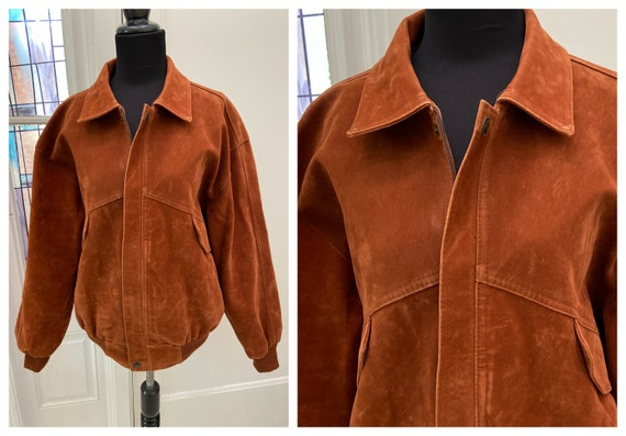Vintage Synthetic Suede Bomber Jacket Alta Moda It