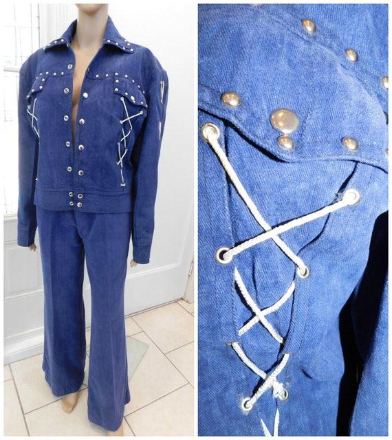 70s Studded Western Pants Suit Vintage Western Hig