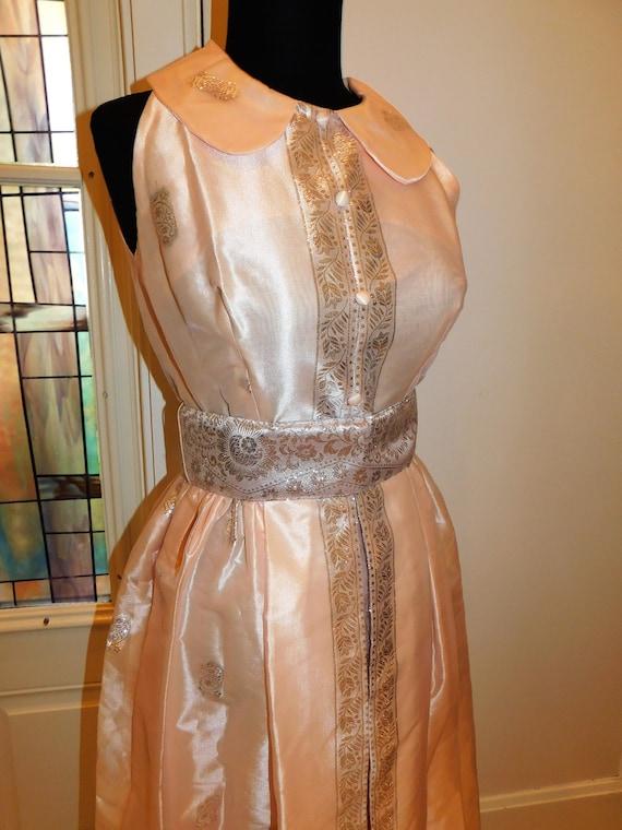 Vtg 60s Pastel Silver Peach Maxi Gown Peter Pan C… - image 9