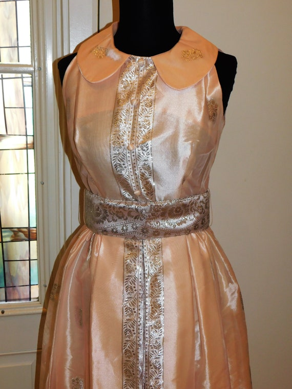Vtg 60s Pastel Silver Peach Maxi Gown Peter Pan C… - image 3