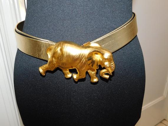 Vintage Doreen Ryan Gold Elephant Belt Elephant Sa