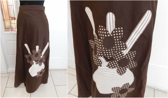 1970s Maxi Wrap Skirt Appliqued Long Skirt Brown W