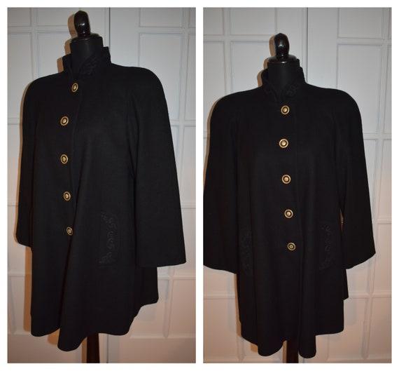 Vintage Black Wool Swing Coat Soutache Trim Duster