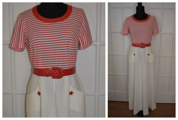 Vintage 60s Maxi Sailor Dress, Navy Dress, Red Whi