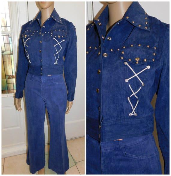 70s Western Wear Studded Denim Pants Suit 70s West