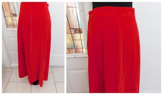 Vintage 70s Red Velvet Maxi Skirt Velveteen Cotton
