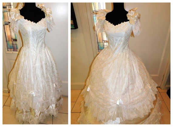 Vintage Prom Wedding Gown, Lace Satin White Ivory