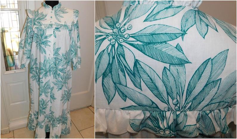 08767567a4c 70s HAWAIIAN MuuMuu Patio Lounging Dress Caftan Hawaiian