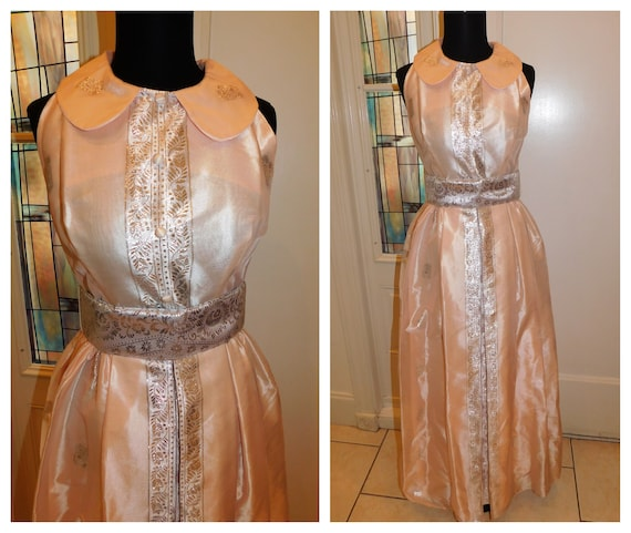 Vtg 60s Pastel Silver Peach Maxi Gown Peter Pan Co