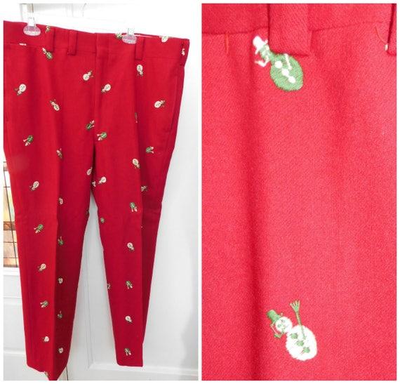 1950s Mens Pants Novelty Pants Red Wool Christmas