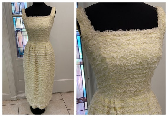 Vintage 60s Lace Formal Gown Tiered Lace Yellow Iv
