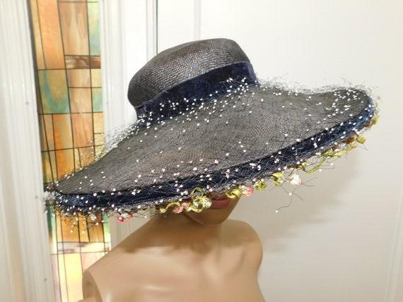 Vintage 40s Straw Wide Brim Hat Netted Fringed Str