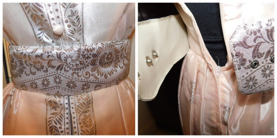 Vtg 60s Pastel Silver Peach Maxi Gown Peter Pan C… - image 10