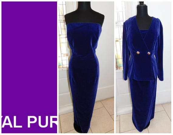Royal Purple Velvet Long Cocktail Dress & Jacket P
