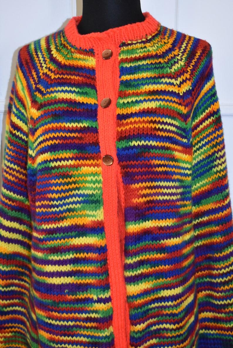 Vintage Hand Knit Rainbow Striped Fringed Poncho Multi-Color Boho Hippie Poncho Shawl Cape