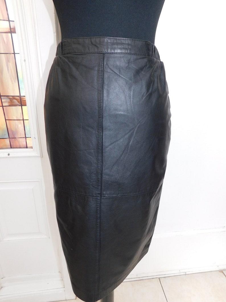7e2fd1e2d Vintage Genuine Leather Black Pencil Mini Skirt by Adler 24-26 | Etsy