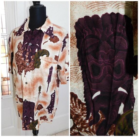 60's Mens Moai Tiki Hawaiian Shirt Easter Island P