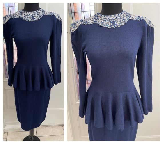 Vintage 1940s Style Navy Blue Peplum Sheath Dress