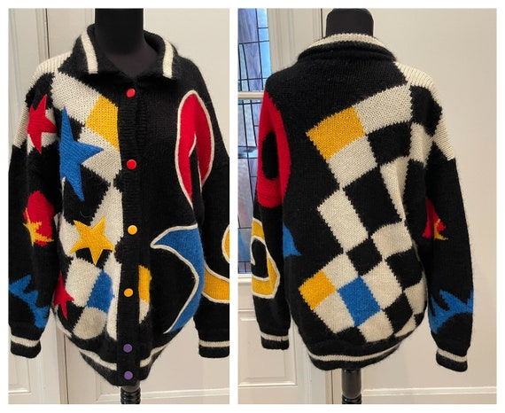 90s Pop Art Oversized Mohair Blend Sweater Stars V