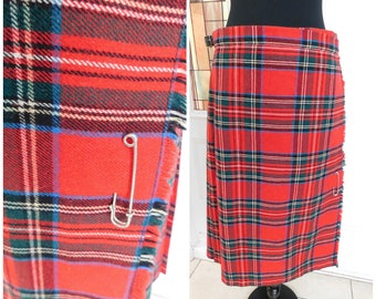 "Vintage Red Scottish Plaid Tartan Pleated Plaid Kilt Skirt Authentic Kilt Ben Nevis Plaid Skirt 30"" waist"
