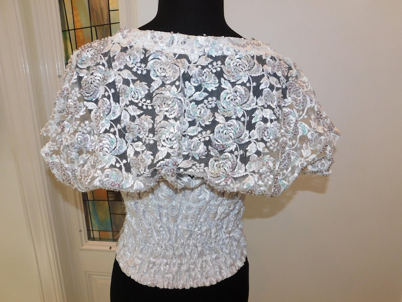 Vintage Fredericks of Hollywood Sequined Beaded White Lace Molded Cups Corset Bustier 36B Chest