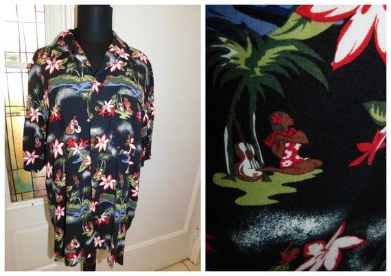 98c34c70 80s Mens Hawaiian Hula Girl Aloha Shirt Island Paradise | Etsy