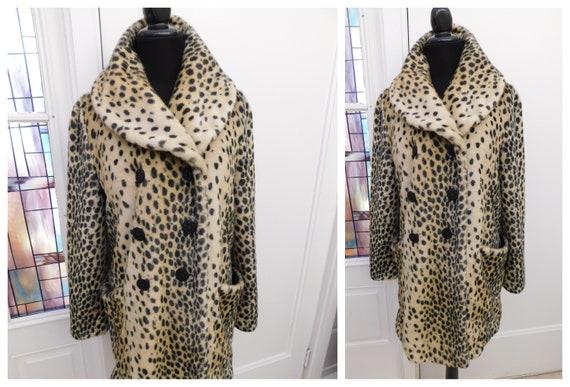Vintage Leopard Cheetah Print Faux Fur Coat Animal