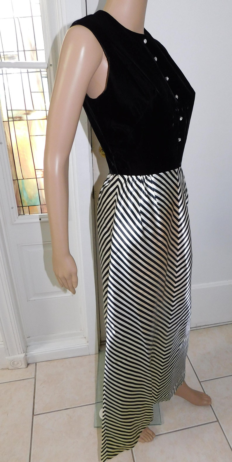 Thigh High Velvet Gown Couture Jackie O Formal Gown  Small Medium Vintage 60s Built in Shorts Zebra Striped gown Striped Gown
