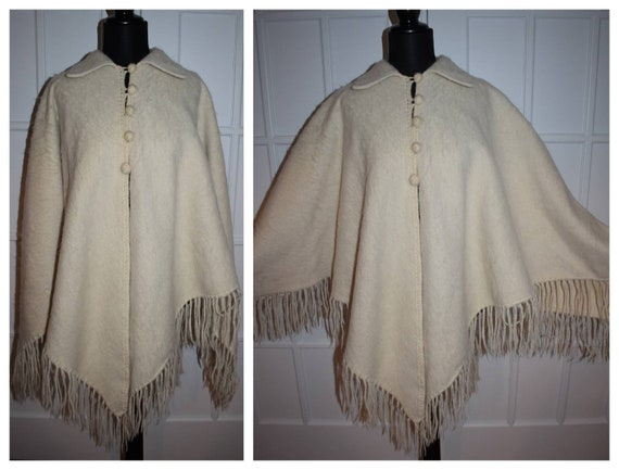 Vintage Mohair Poncho Tan Cream Wool Fringed Ponch