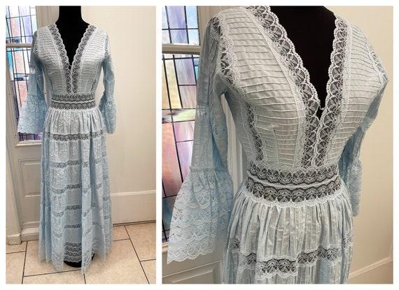 Vintage 50s Sheer Pastel Blue Lace Gown Lace Spani