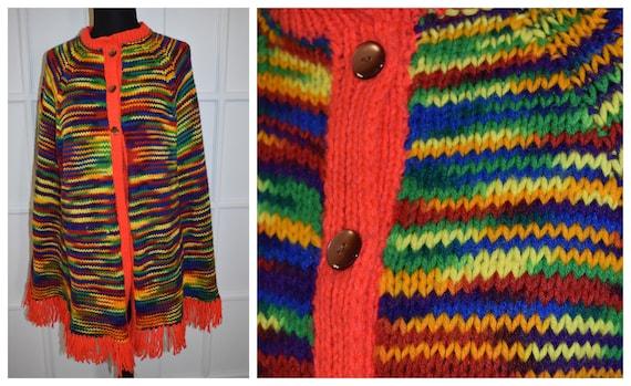 os one size 1960s jumper vintage 60s fringed pullover jacket cape rainbow chevron sweater poncho hippie boho shawl wrap bohemian