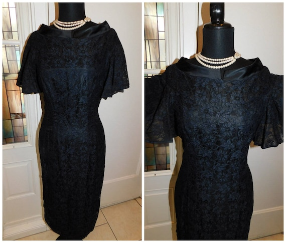 1950s Black Lace Wiggle Dress 50s Black Cocktail D