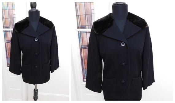 Vintage 1950s Black Wool Cropped Jacket Beaver Fur