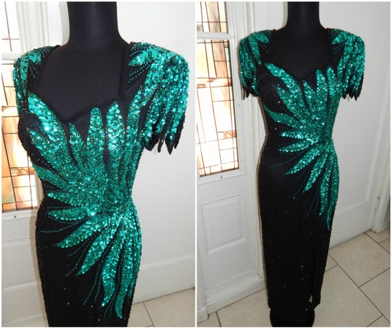 80s Beaded Gown  Art Deco  Gown  Winged Feather Le