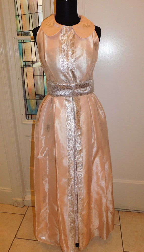Vtg 60s Pastel Silver Peach Maxi Gown Peter Pan C… - image 4