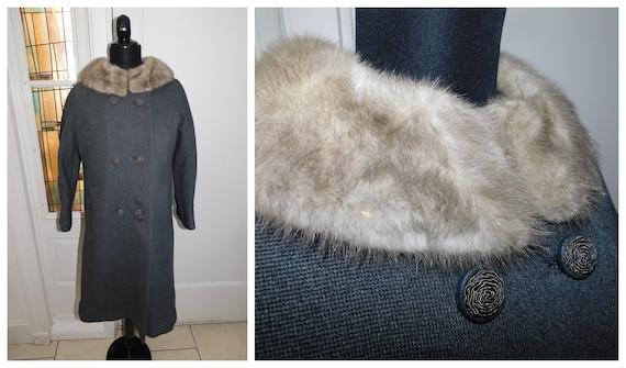 50s Gray Mink Collar Coat, Mink Collar 50s Coat, S
