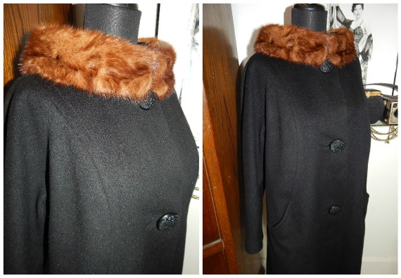 50s Swing Coat, Trapeze Coat, Mink Collar 50s Coat