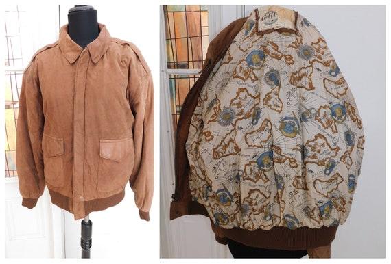 Vintage Leather Bomber Jacket Map Liner Flight Bom