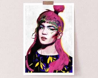Grimes Inspired print  | llustration art giclée print | music print ,print, Wall decor, signed art, wall art, portrait, poster,