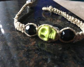 Macrame Bracelet with Lime Green Skull