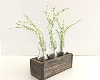 Rectangle Wood Display Box, Modern Walnut Accessory Box, Glass Vase Display Box, Home Decor, Flower Vase Display Box, Walnut Wood Box
