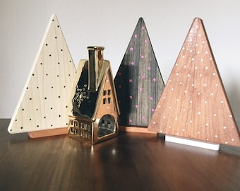 Small Wooden Trees, Country Christmas Trees, Primitive Holiday Decor, Rustic Christmas Mantel Tree Decor