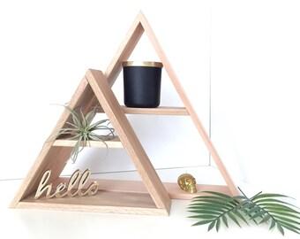 """3.5"""" Deep Hand Stained Triangle Wood Shelf, Home Decor Storage, Oak Wood Shelves, Modern Shelving, Minimal Design Shelves, Geometric Shelf"""