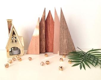 Wood Holiday Tree, Wood Forrest of Tree, Multi-Colored Wood Tree, Holiday Decor, Mantel Tree Decor